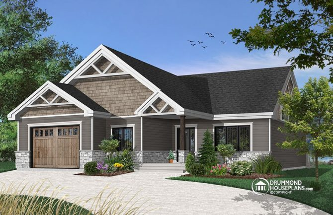 Affordable bungalow house plan with master suite and garage