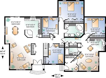 Drummond House Plans - Multigenerational Floor Plan no. 2278 (Main Level)