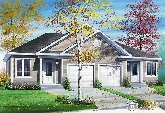 www.DrummondHousePlans.com Semi-detached house plan #6014