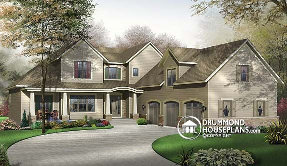 New craftsman house and home designs with today 39 s amenities for Three car garage house plans