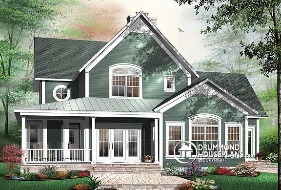 Country cottage style house plan with 4 bedrooms. Home plan no. 3926 by Drummond House Plans.
