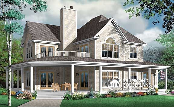 Perfect 4 bedroom house plans blended families drummond for Country farm house plans