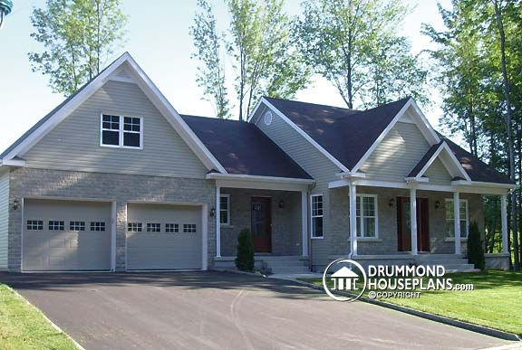 Craftsman with ranch feel drummond house plans for Small house plans with 2 car garage