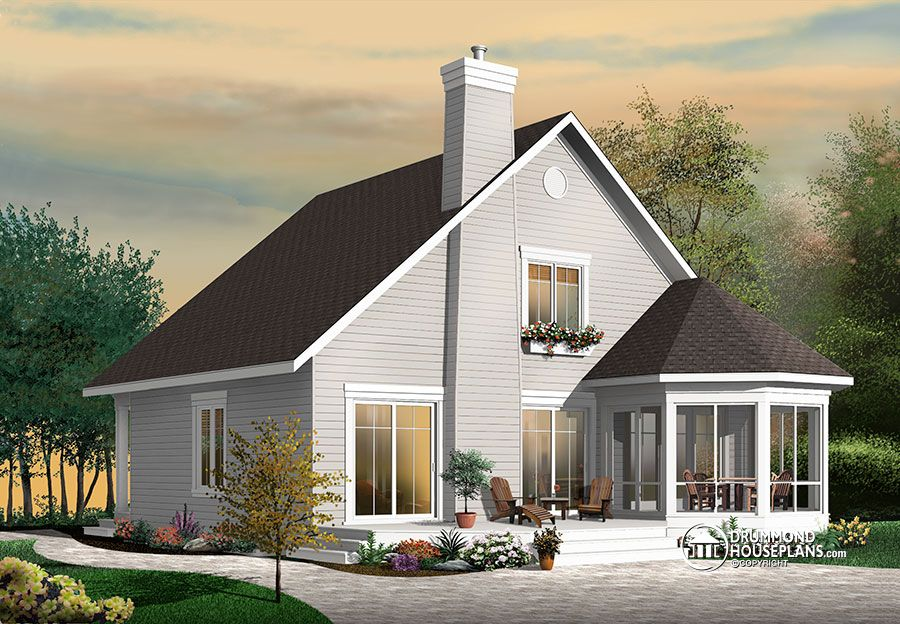 Stunning a frame 4 bedroom cottage house plan drummond for Country bungalow house plans