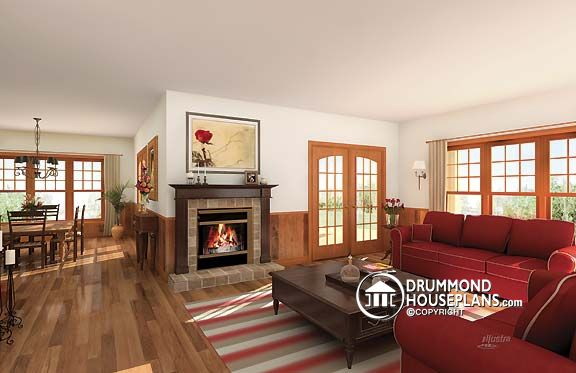 Living room of Country house plan no. 3832 by Drummond House Plans