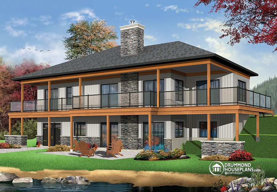 Cool Modern Rustic Cottage House Plan With Large Covered Terrace Largest Home Design Picture Inspirations Pitcheantrous