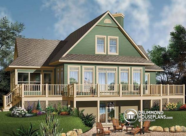 Luxurious panoramic chalet with great room drummond for House plans with great room in front