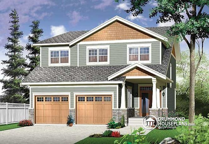 Narrow lot northwestern for Narrow lot 4 bedroom house plans