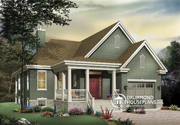 Plan of the week bungalow with inviting front porch for Front deck designs bungalow