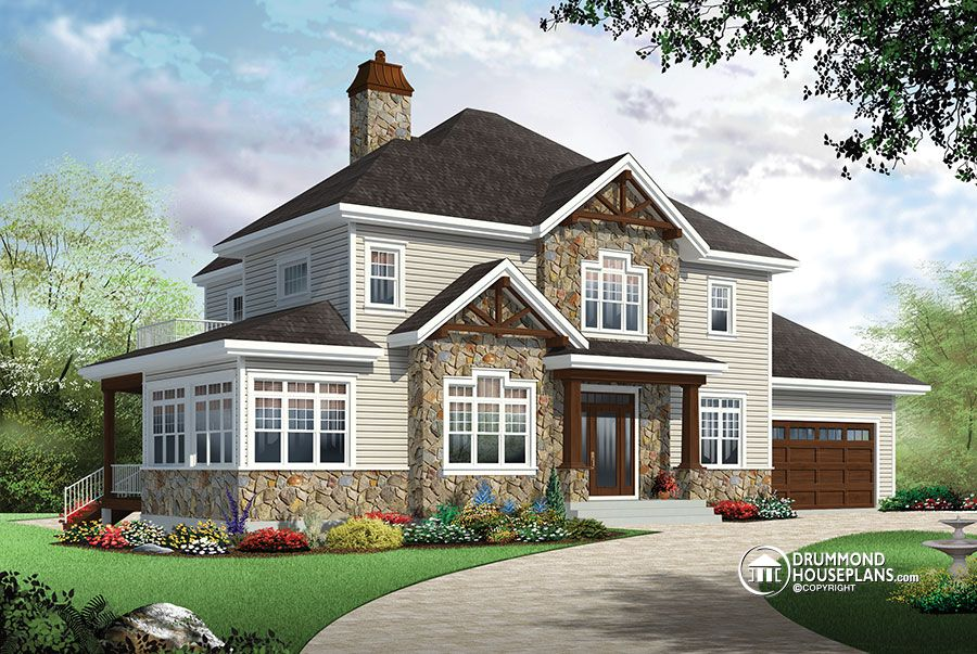 4 bedroom Traditional house plan with Rustic touches & two master suites!