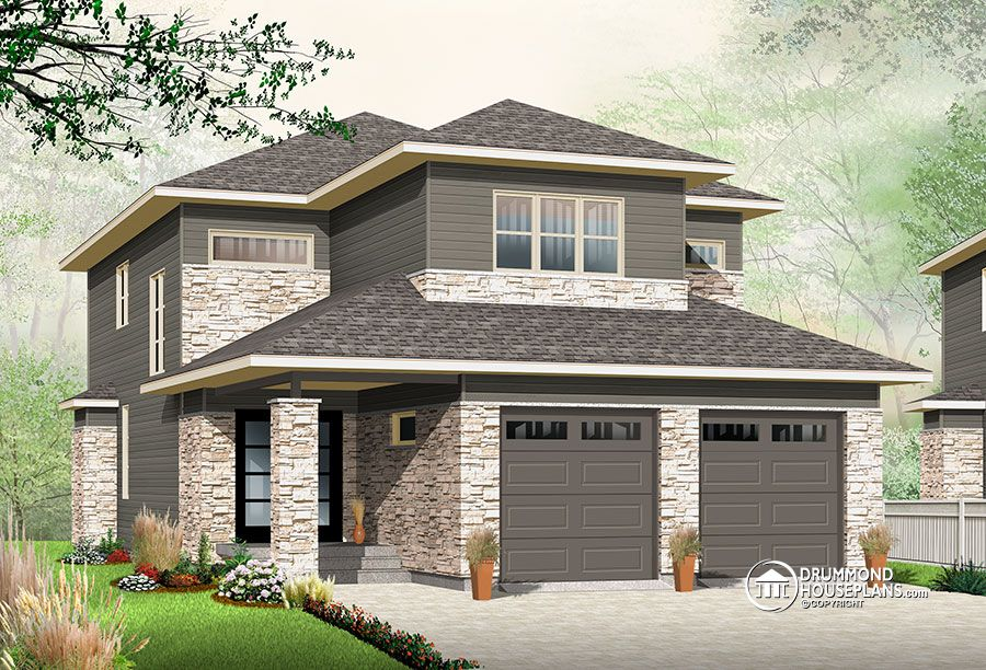 Narrow lot house plan with nursery off the master suite