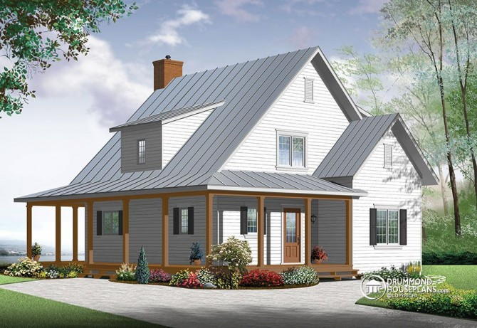 New beautiful small modern farmhouse cottage for Farmhouse two story house plans