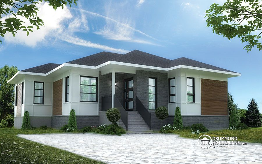3 bedroom bungalow modern style, by Drummond House Plans