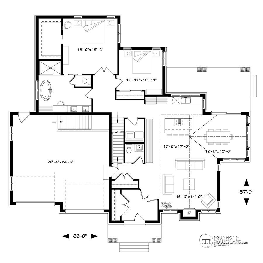 Main Floor Plan Of Ranch House Plan # 3285 By Drummond House Plans