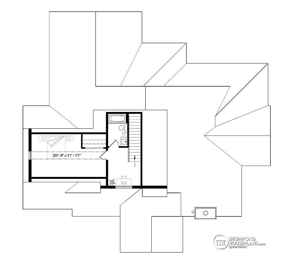 Second Master Suite on Second floor - Ranch house plan # 3285 by Drummond House Plans
