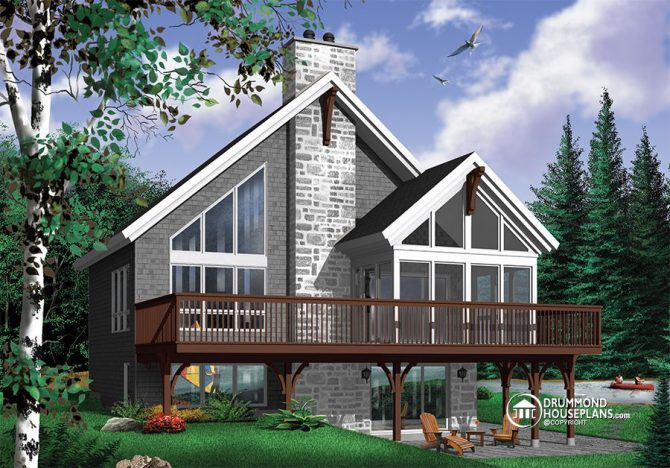 A very popular rustic chalet house plan with mezzanine for Chalet moderne plan