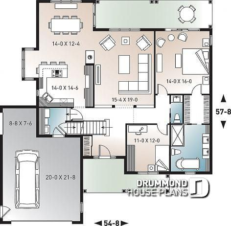 Modern farmhouse plan with great master suite