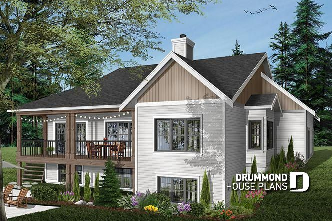 Modern farmhouse plan with walkout basement and 4+ beds