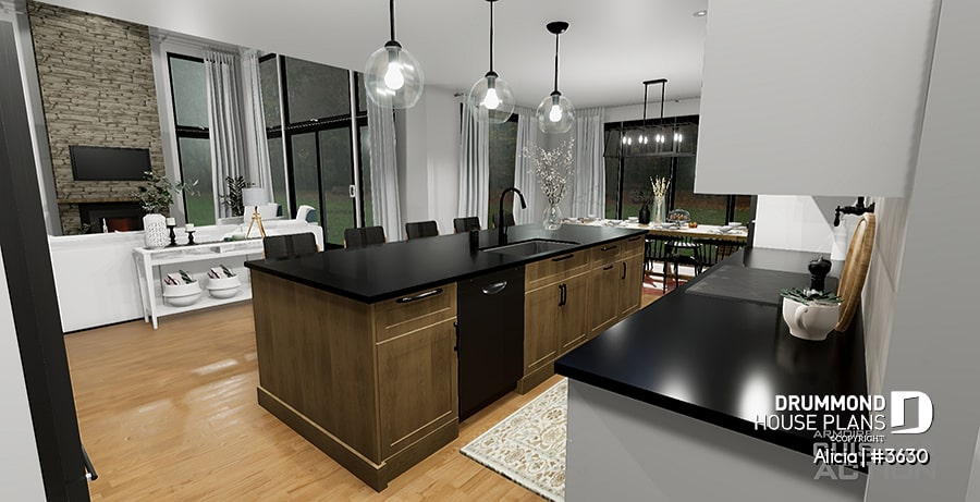 Kitchen overlooking living room - Alicia Moffet future dream home