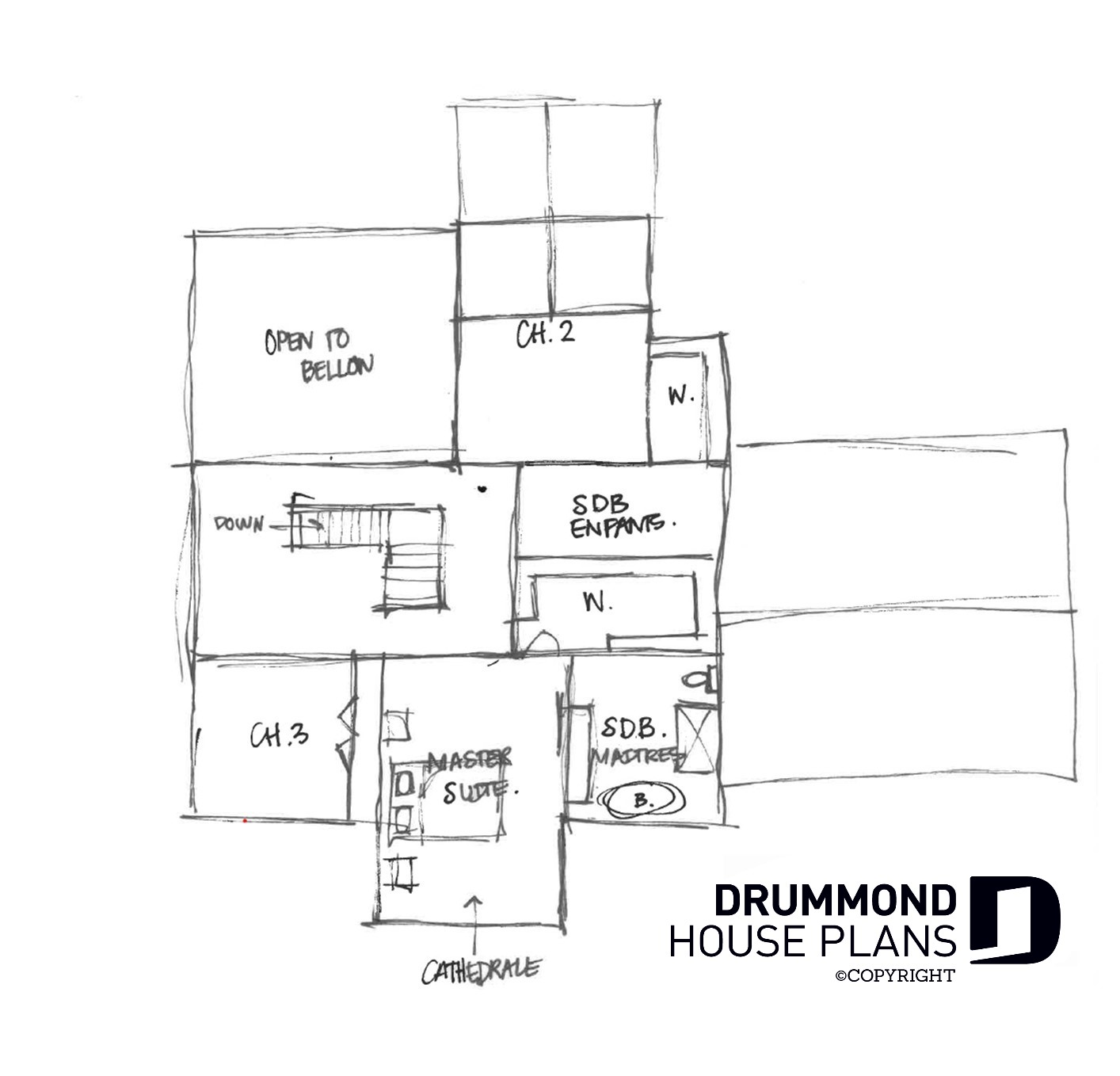 Sketch of second floor for Alicia Moffet dream farmhouse house plan.